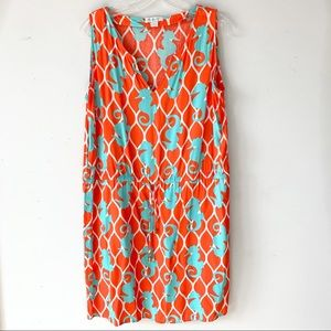 Escapada   Orange & Teal Seahorse Tie Waist Dress